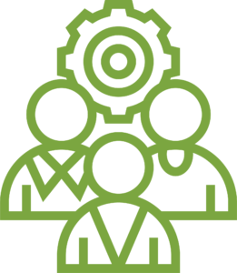 green outline of three people avatars with cog in background icon