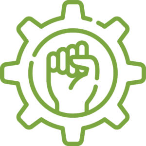 green outlined fist inside cog icon